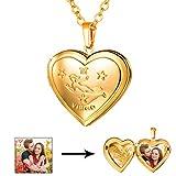 U7 Virgo Zodiac Sign Necklace 18K Gold Plated Heart Photo Locket Pendant, Chain 22''
