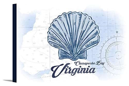 Chesapeake Bay, Virginia - Scallop Shell - Blue - Coastal Icon (18x12 Gallery Wrapped Stretched Canvas)