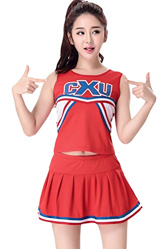 La Vogue Women Teen Cheerleader Uniform Outfit 2 Piece Fancy Dress Costume Red US 14