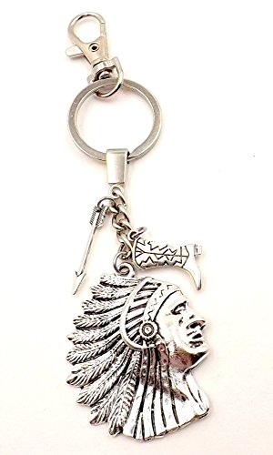 Native American Indian Seminole Chief Keychain Bag Charm Car Accessory Pocket Ring Fob (Easy Costumes For Horses)