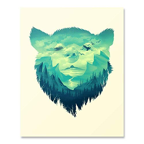 Beautiful Wilderness Lover Landscape Art Print Outdoor Nature Forest Trees Mountain Water Sunset Wall Art Colorful Bear Animal Illustration Home Decor 8 x 10 Inches ()