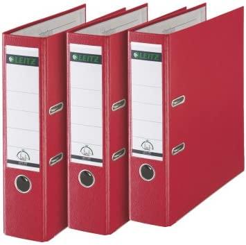 Esselte-Leitz - Archivador (3 unidades, 180°, anillas, A4, 8 cm, plástico), color rojo