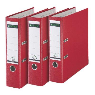 Esselte-Leitz - Archivador (3 unidades, 180°, anillas, A4, 8 cm, plástico), color rojo: Amazon.es: Oficina y papelería