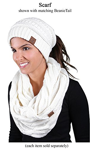 S1-6100-25 Funky Junque Infinity Scarf - Ivory (Solid) by Funky Junque (Image #5)