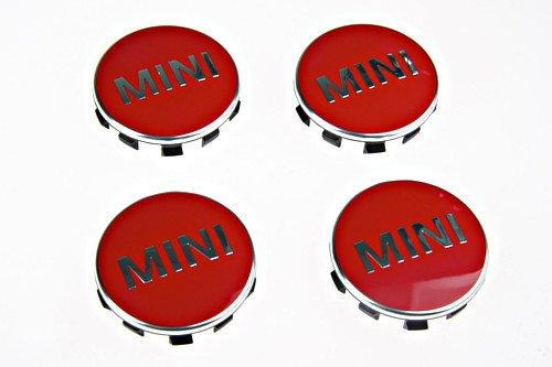 Genuine MINI Cooper 52mm Chili Red Wheel Center Cap Set 4 Pcs (Center Wheel 52mm Cap)