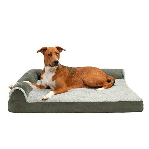Furhaven Pet Dog Bed | Deluxe Cooling Gel Memory Foam Two-Tone Plush Faux Fur & Suede L Shaped...
