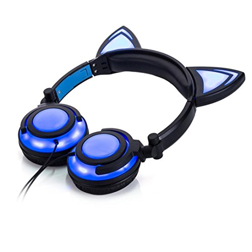 Hunputa Cute Foldable Cat Ear LED Music Lights USB Charger Ear Buds Game Headphone Earphone Headset for Laptop (Blue)