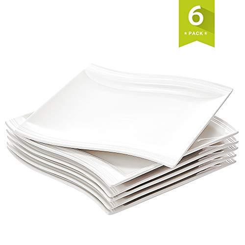 (Malacasa 10.25-Inch Porcelain Serving Platters Square Dinner Plates White - Set of 6)