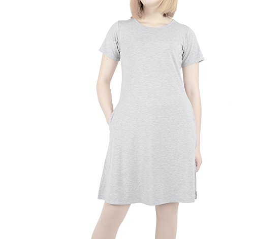 Modeway Women's Modal Short Sleeve Pockets T shirt Dresses Loose Fit Long Tunic
