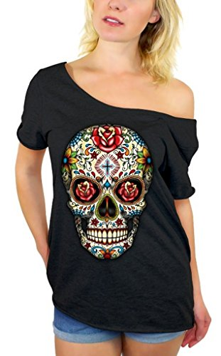Awkwardstyles Sugar Skull Rose Eyes Off Shoulder Tops T-Shirt + Bookmark L Black]()