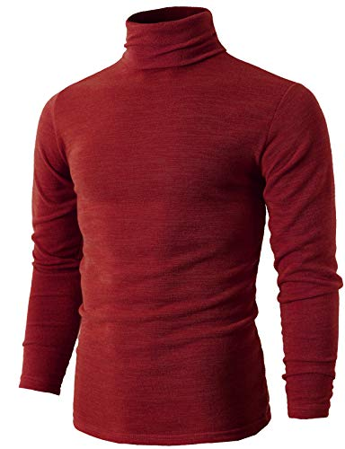 H2H Mens Basic Knitted Turtleneck Pullover Sweater RED US M/Asia XL -
