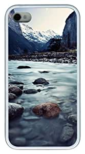 Lauterbrunnen Switzerland TPU Silicone Back Case Cover for iPhone 4/4S White