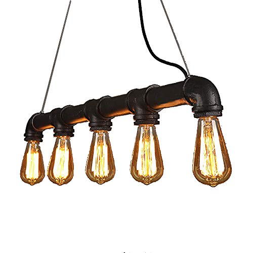 Vintage Island Light, Motent Industrial Retro Water Pipe Ceiling Light, Antique Iron Wrought Lampshade, Minimalist Simplicity Pendant Lighting Fixture with 5 E26 Sockets for Loft Bar Kitchen - Black