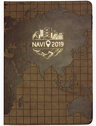 NAVI Journal - Travel Themed Weekly, Monthly, Yearly Planner - Travelers Notebook - Day Organizer 2019 Planner - Brown, Gold