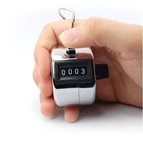 HORSKY Tally Counter Handheld, Digit Number Lap Counter Manual Mechanical Clicker with Finger Ring Sliver (Track Counter Lap)