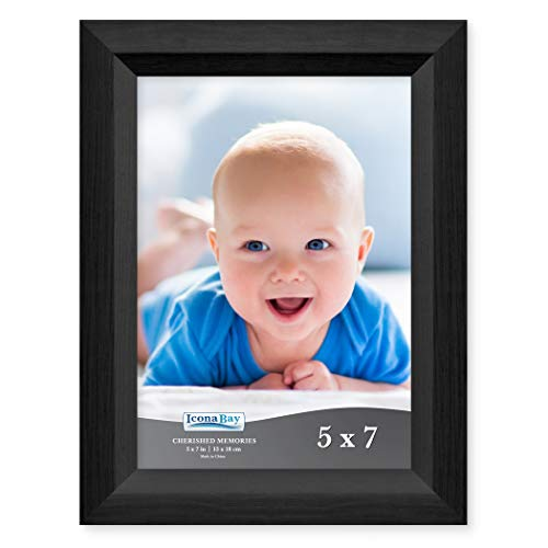 Icona Bay 5x7 Picture Frame (1 Pack, Obsidian Black Wood Finish), Black Photo Frame 5 x 7, Composite Wood Frame for Walls or Tables, Set of 1 Cherished Memories Collection
