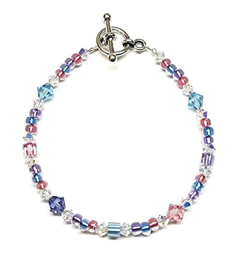 Swarovski Toggle - Metallic Aqua Rose Tanzanite Austrian Crystal Bracelet