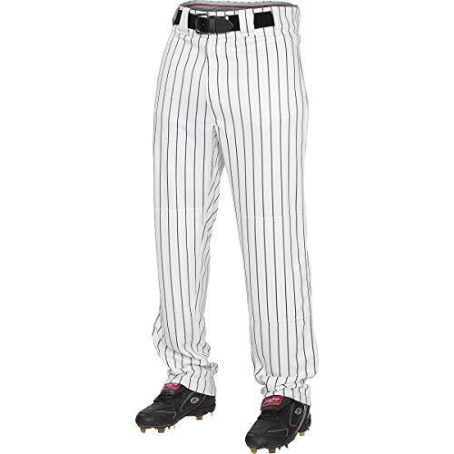 Rawlings Men's Semi-Relaxed Pants with Pin Stripe Design, Medium, White/Black