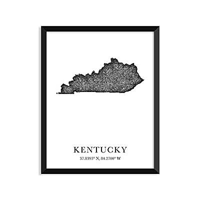 KENTUCKY Map, longitude, latitude, City maps, State prints, art print, map print, world map, map, travel map, map art