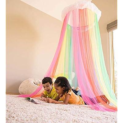 HearthSong Rainbow Hideaway Canopy, LED Lights, 7'H x 24