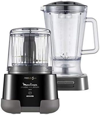 Oferta amazon: Moulinex 1.2.3 Ultimate Picadora Eléctrica De Alimentos Y Batidora De Vaso, 1000 W, 0.55 litros, Revestimiento de Titanio, Negro