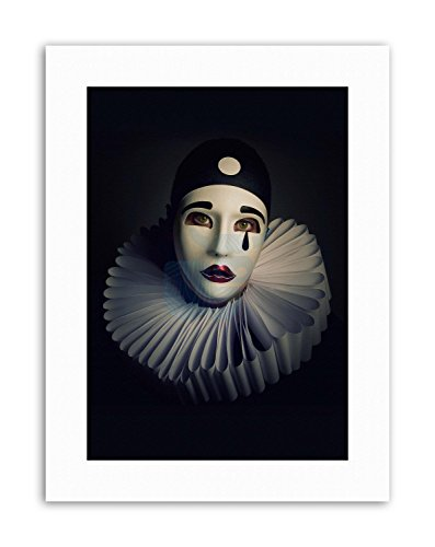 Wee Blue Coo Study Performer Pierrot MASK Costume Portrait Canvas Art Prints -