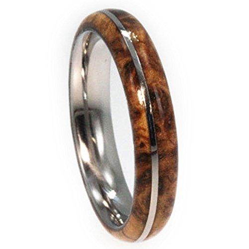 Wood Stripe Ash (Black Ash Burl, Titanium Pinstripe 6mm Comfort Fit Titanium Wedding Band, Size 12)