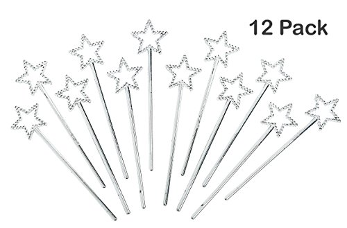 Mini Fairy Star Princess Wands Pack Of 12 - 5 Inches, Color Silver, Star Shape With Beads – For Kids, Birthday, Halloween, Princess, Costume, Themed Party, Prize - By - Up Dress Girls Spice