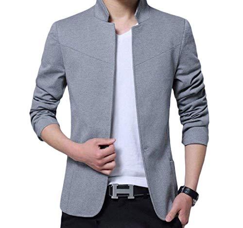 Grau Élégants Vestes Essentiel Col Occasionnels Manches Masculine Slim Costume Hommes Bouton 1 Blazer Mode Longues Montant nBxcqwZZU