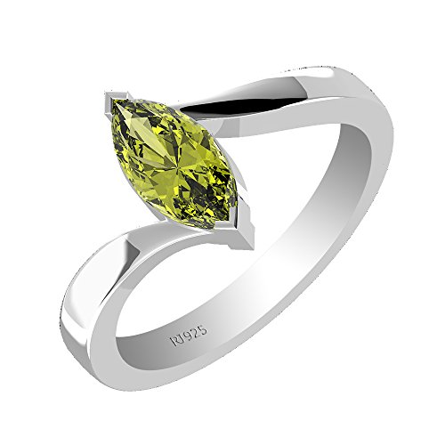 1.00ctw,Genuine Peridot 5x10mm Marquise & Solid .925 Sterling Silver Ring (Size-5)