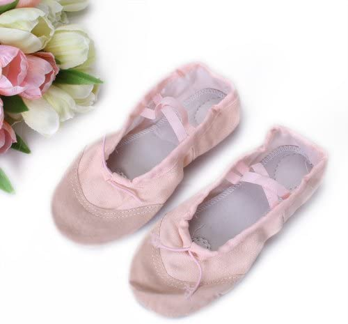 NYLSA Kids Girls Clothing Accessory Pink Canvas Flat Ballet Shoes Pair US Size 12# 8 Inch