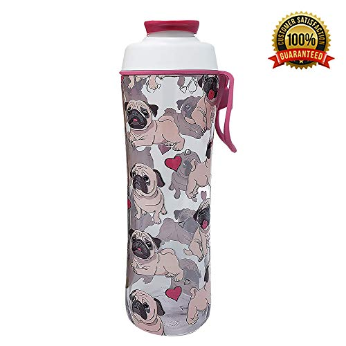 (50 Strong BPA Free Gym Water Bottle with Ice Guard Flip Top Cap & Carry Loop - Cute Designer Prints - Perfect for Men, Women, Sports & Workout - 24 oz. - Made in USA (Pug Life, 24 oz.))
