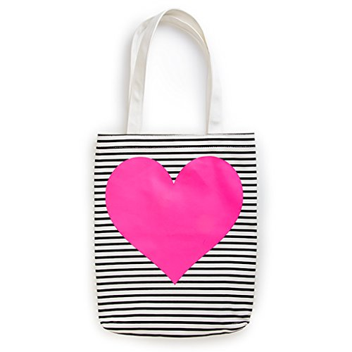 ban.do Neon Heart with Stripes Canvas Tote -