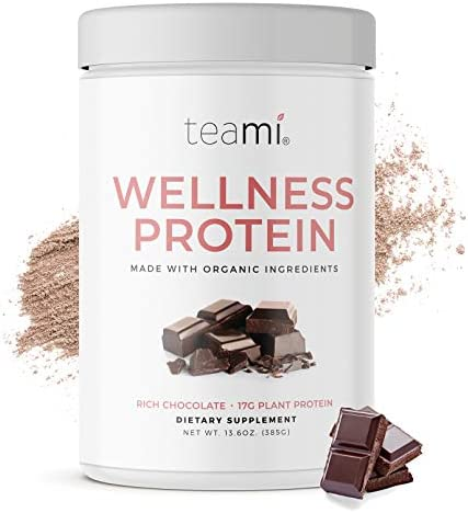 Teami Wellness Vegan Protein Powder – Organic Ingredients 14 Servings, 13.6 Ounce Smooth Textured Chocolate Plant Based Protein Powder, Low Net Carbs, Non-GMO, Dairy Free, Soy Free, No Sugar Added