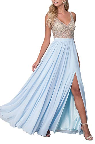 2019 Women's Sleeveless Prom Dresses V-Neck A-line Evening Gown Beading Backless Chiffon Bridesmaid Dress High Split Floor Length Formal Evening Dress for Party