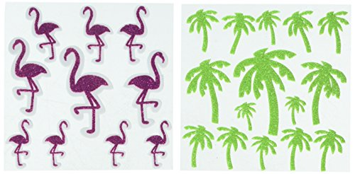 Darice Glitter Flamingos and Palm Trees Foamies Stickers