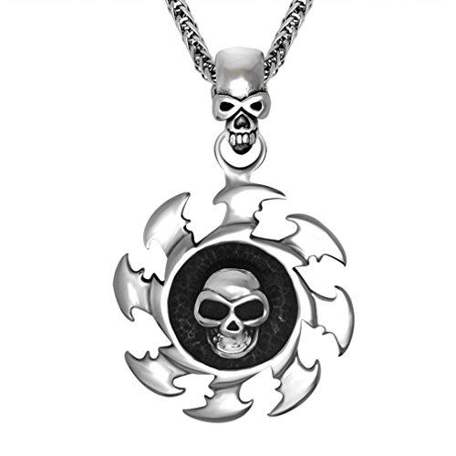 [W-Q Mens Fashion Retro Cool Punk Skull Pendant Titanium Steel Necklace Sautoir(28