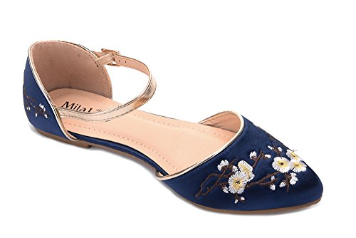 Mila Lady Mamie Fashion Nieuwe Dorsay Zijdeachtige Stevige Bloemen Gar Pointy Teen Dames Mode Flats, Marine