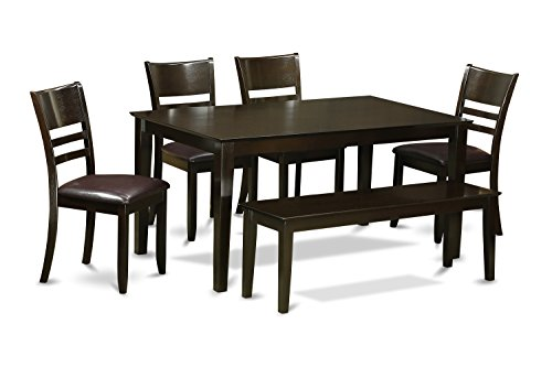 East West Furniture CALY6-CAP-LC 6-Piece Dining Table Set with Bench