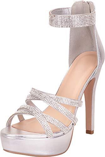 Cambridge Select Women's Open Toe Ankle Strappy Crystal Rhinestone Chunky Platform High Heel Dress Sandal,11 B(M) US,Silver PU