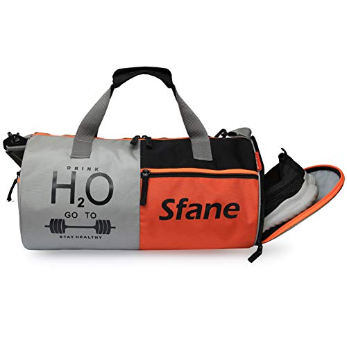 SFANE Polyester Duffel Gym Bag for Men and Women with Shoes Compartment (Orange)