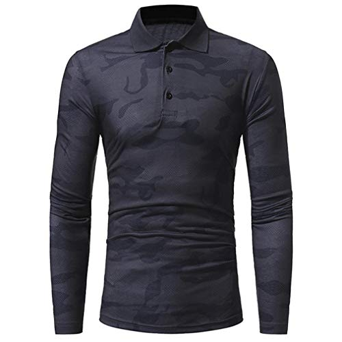 Clearance Men's Casual Camouflage Slim Muscle Long Sleeve Polo Shirt - vermers Women Fashion Printed Top Blouse(2XL, Dark Gray) by vermers