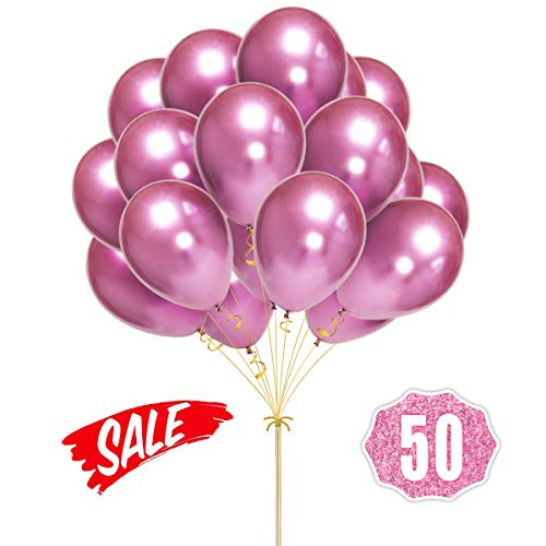HoveBeaty Pink Balloons Chrome Shiny Metallic Latex 12 Inch Thicken Balloons 50 Pack for Wedding Party Baby Shower Christmas Birthday Carnival Party Decoration Supplies -