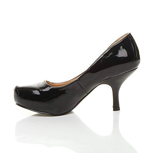 Größe Pumps Mittel Schuhe Absatz Schwarz Plateau Kleiner Versteckte Fesch Lackleder Arbeit Damen wzpqOg