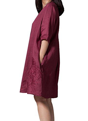 Hole Tide Women's 1/2 Sleeve 3D Floral Cotton and linen Oversized Shift Dress Burgundy Size US 14