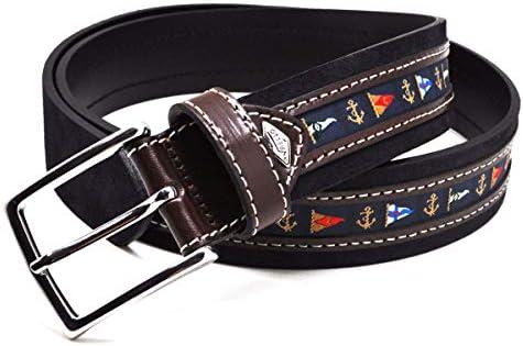 VAELLO- Cinturón náutico trabajado en cuero y ajustable para caballero.: Amazon.es: Ropa y accesorios