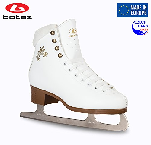 (Botas model: STELLA/Made in Europe (Czech Republic)/Figure Ice Skates for Women, Girls/NICOLE blades/Color White, Size: Adult 5.5)
