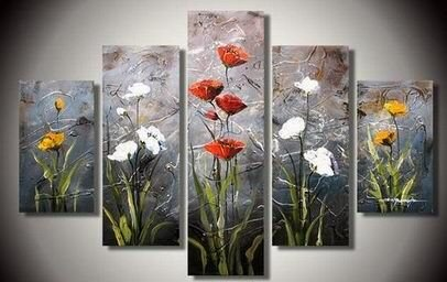 TJie Art Hand Painted Mordern Oil Paintings Wall Decor Realistic Flowers Clouds Home Landscape Oil Paintings Splice 5-piece/set on Canvas