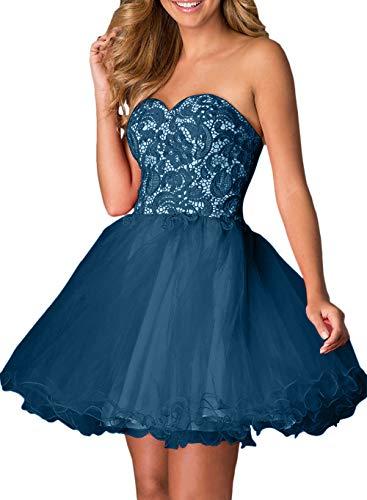 Promkleider Braut Heimkehr Spitze Rot La Kurz Traegerlos Tanzenkleider Blau Cocktailkleider Dunkel Marie Mini qn6xwaR