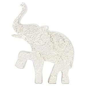 Home Box White Textured Elephant Showpiece